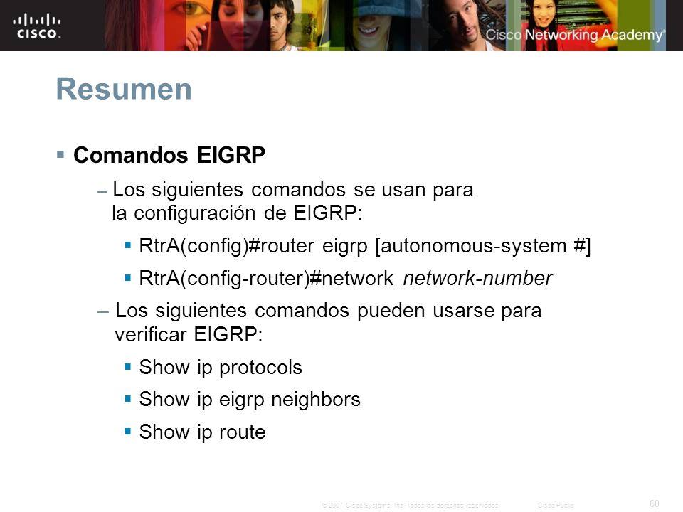 Resumen Comandos EIGRP RtrA(config)#router eigrp [autonomous-system #]